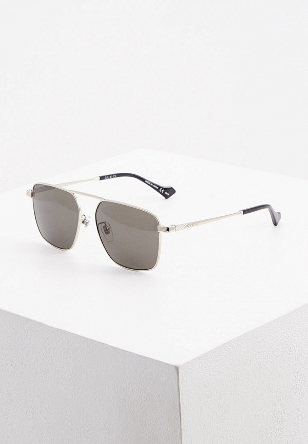 мужские солнцезащитные очки gucci, серебряные
