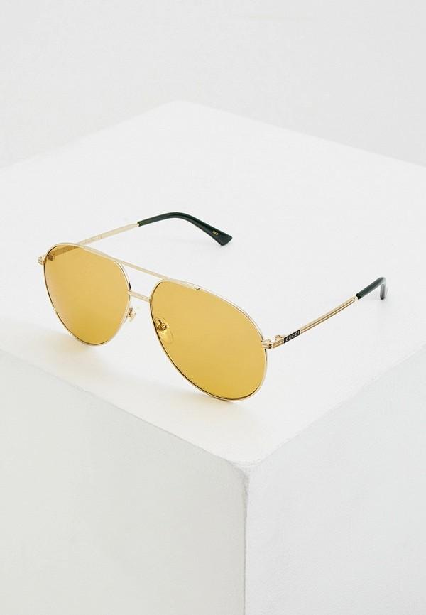 мужские авиаторы солнцезащитные очки gucci, золотые