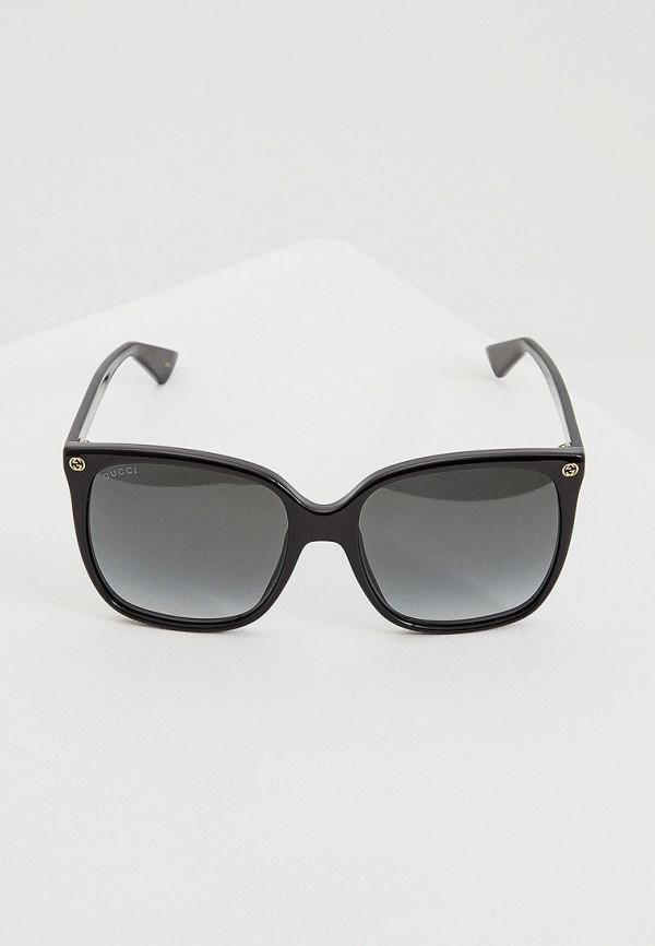 Фото 2 - Очки солнцезащитные Gucci черного цвета