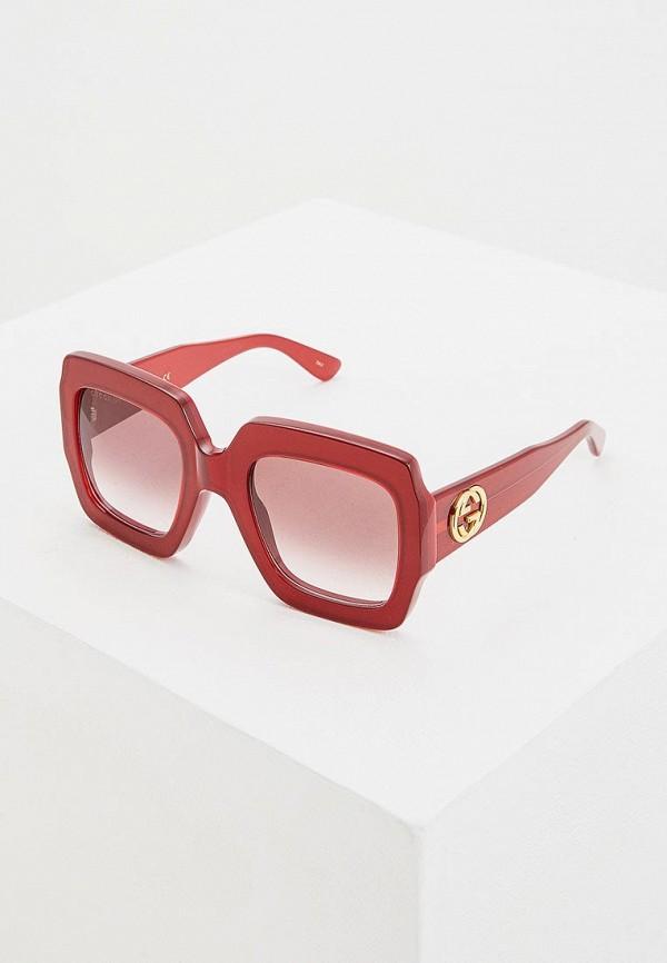 женские квадратные солнцезащитные очки gucci, красные