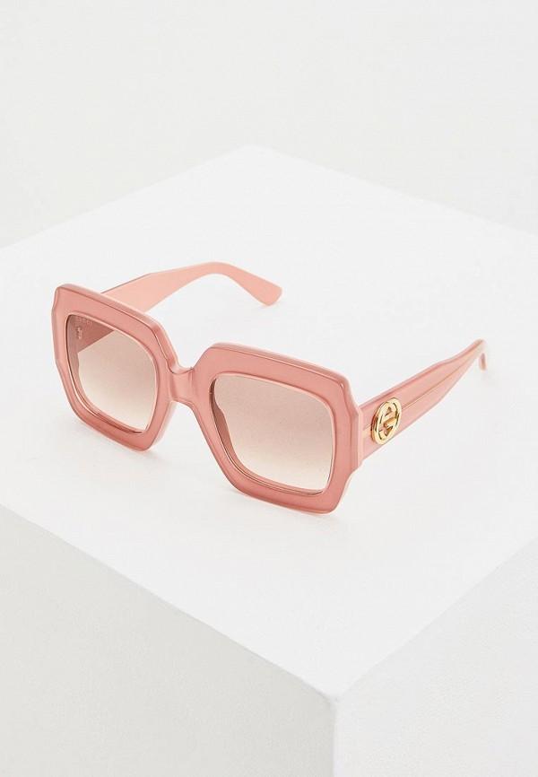 женские квадратные солнцезащитные очки gucci, розовые