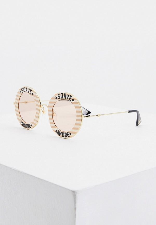женские круглые солнцезащитные очки gucci, розовые