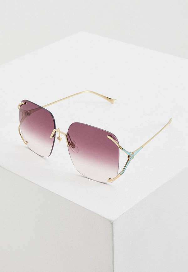 женские квадратные солнцезащитные очки gucci, золотые