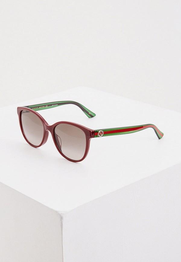 женские круглые солнцезащитные очки gucci, бордовые