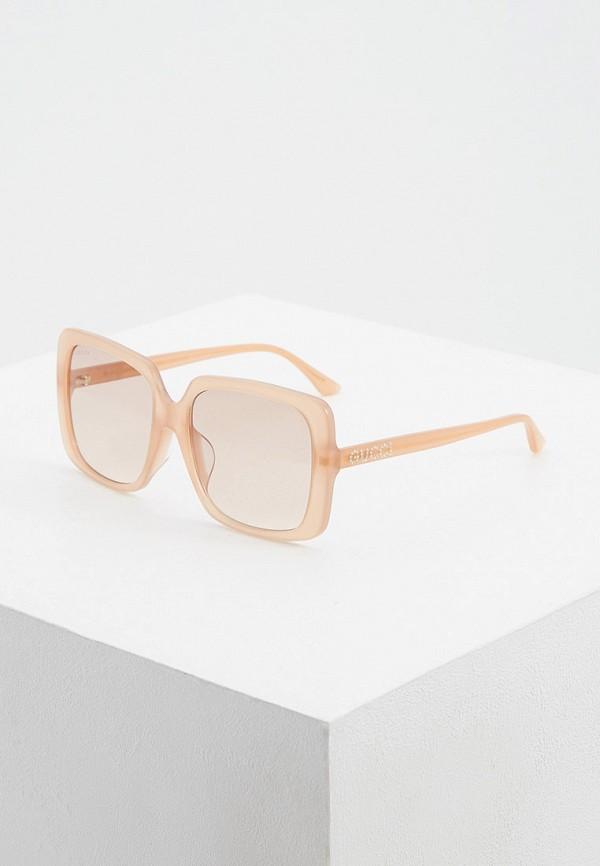 женские квадратные солнцезащитные очки gucci, бежевые