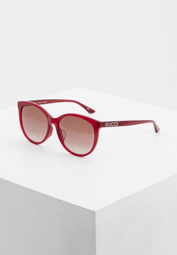 женские солнцезащитные очки gucci, бордовые