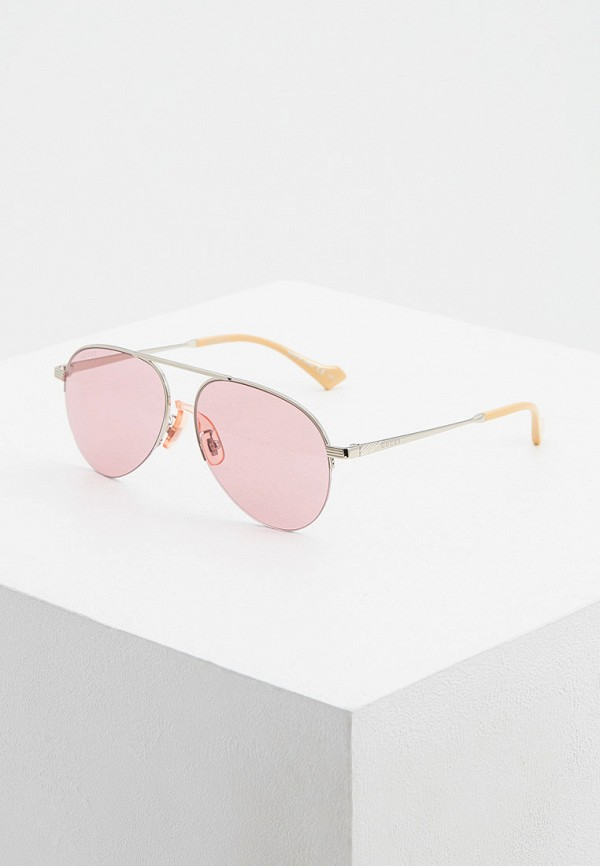 женские авиаторы солнцезащитные очки gucci, серебряные