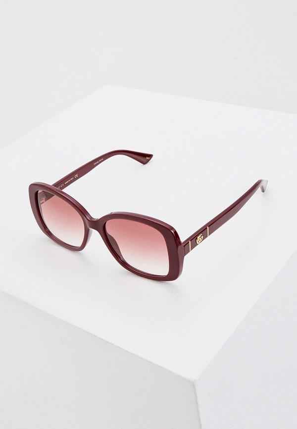 женские квадратные солнцезащитные очки gucci, бордовые