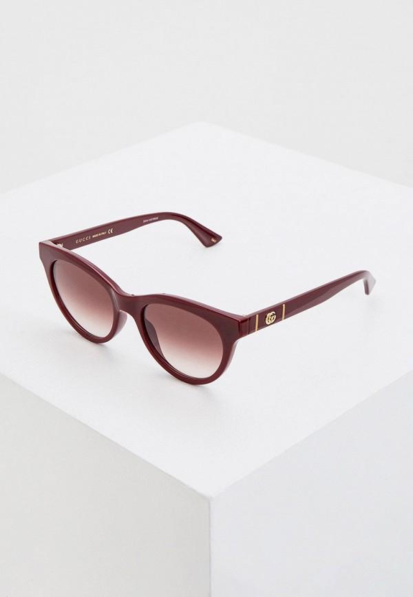 женские солнцезащитные очки кошачьи глаза gucci, бордовые