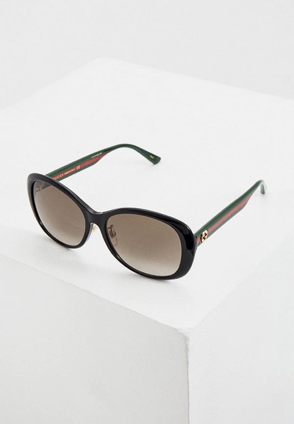 женские круглые солнцезащитные очки gucci, коричневые