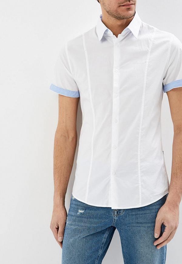 мужская рубашка с коротким рукавом guess, белая