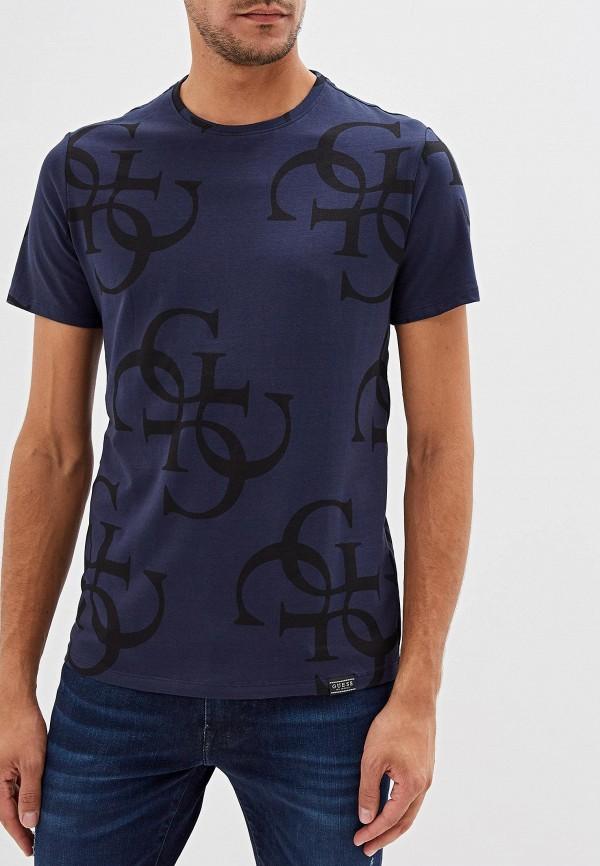 мужская футболка с коротким рукавом guess, синяя