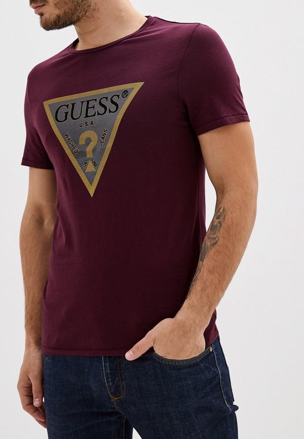 мужская футболка с коротким рукавом guess, бордовая