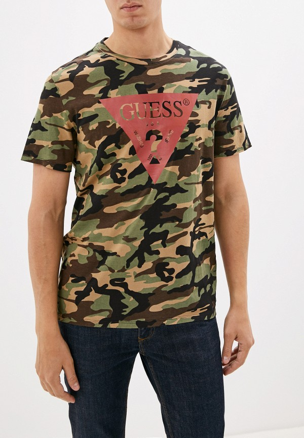 мужская футболка с коротким рукавом guess, зеленая
