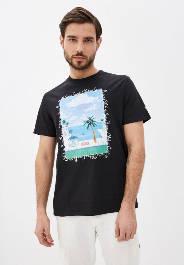 мужская футболка с коротким рукавом guess, черная