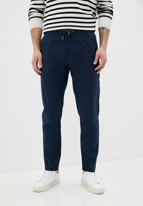 мужские зауженные брюки guess, синие