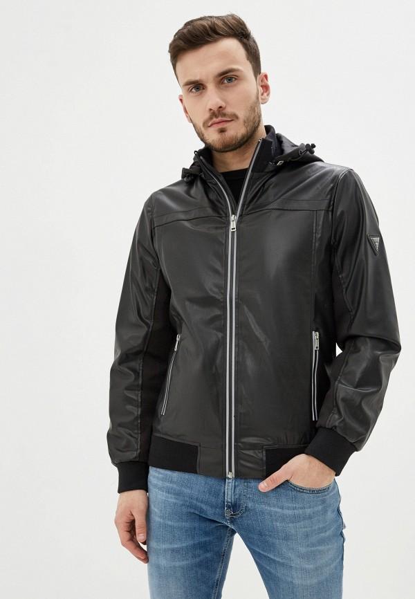 мужская кожаные куртка guess, черная