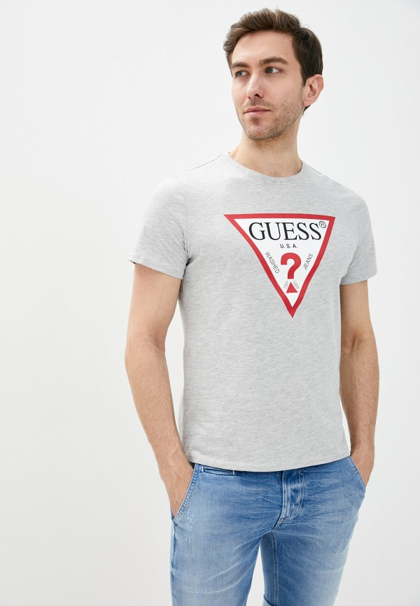 мужская футболка с коротким рукавом guess, серая