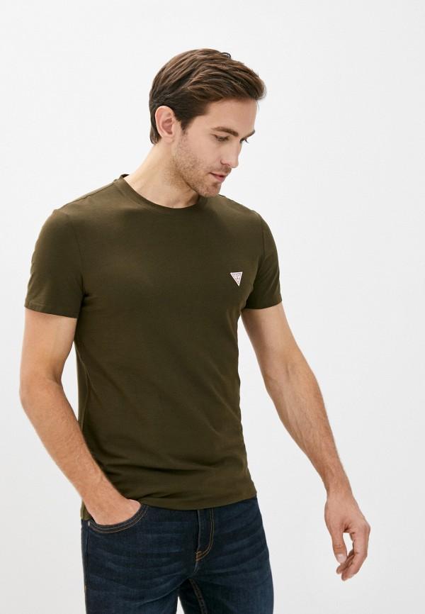 мужская футболка с коротким рукавом guess, хаки