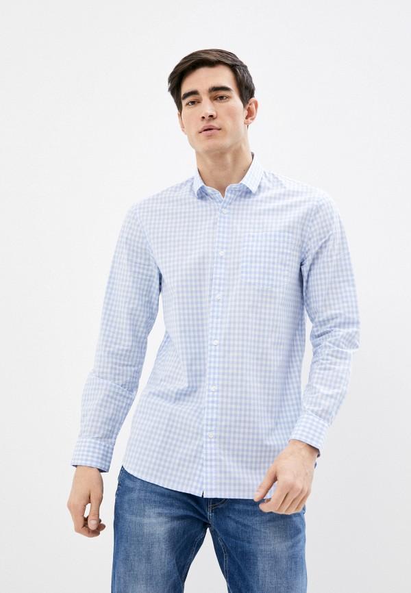 мужская рубашка с длинным рукавом guess, голубая