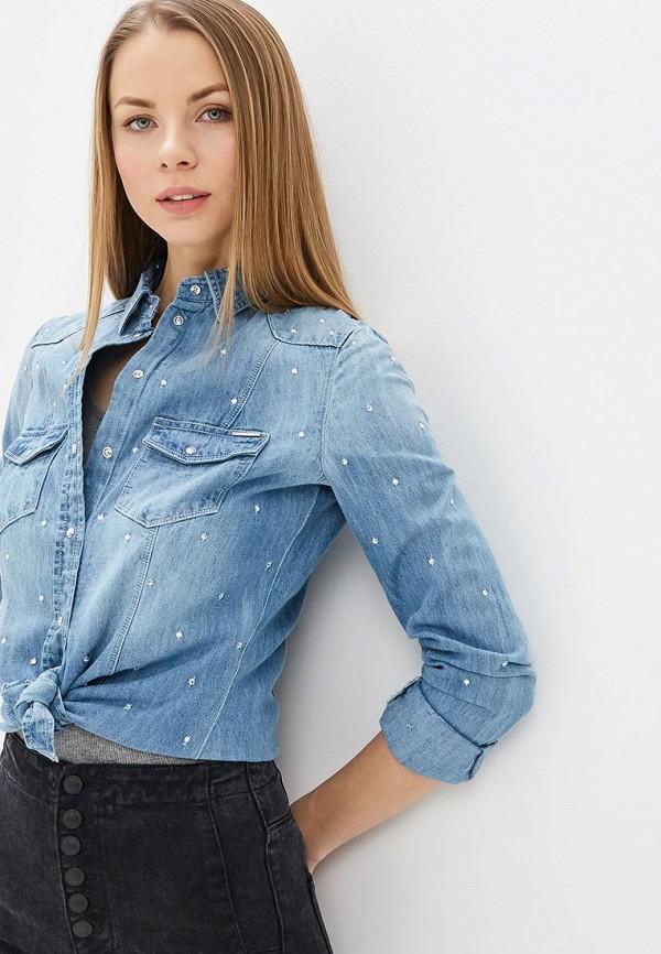 женская джинсовые рубашка guess, синяя