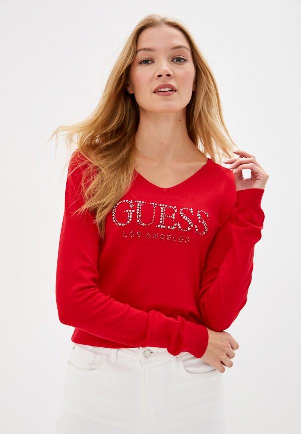 женский пуловер guess, красный