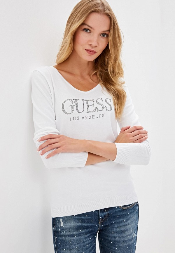 женский пуловер guess, белый
