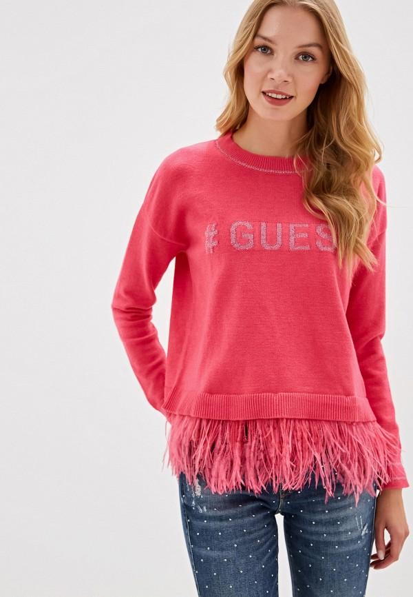 женский джемпер guess, розовый