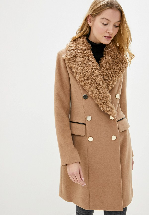 женское пальто guess, коричневое