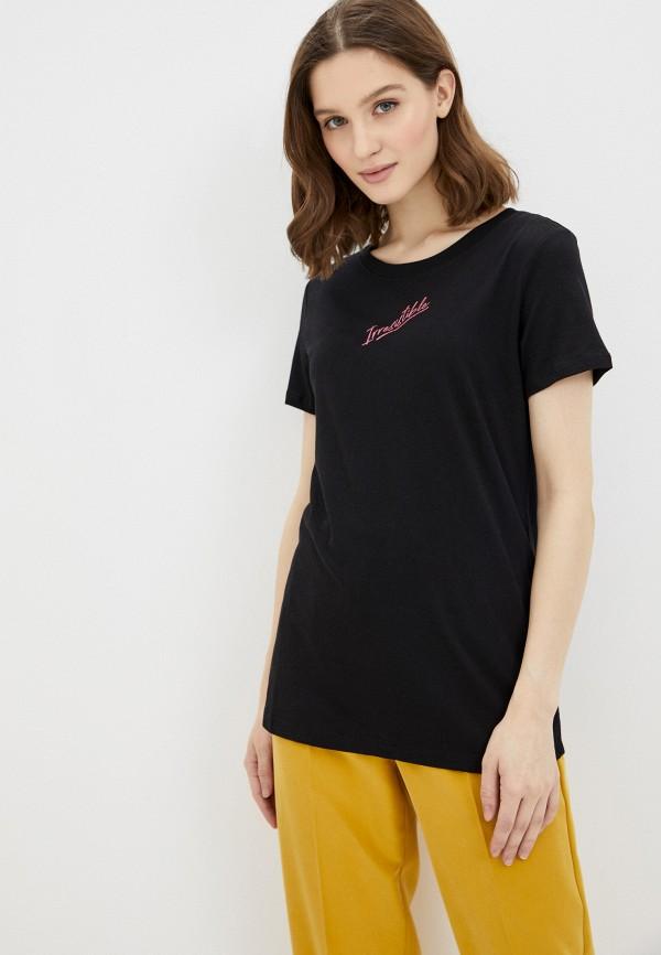 женская футболка guess, черная
