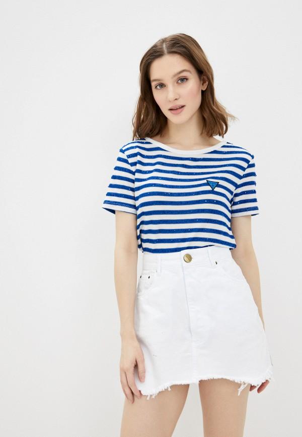 женская футболка guess, синяя