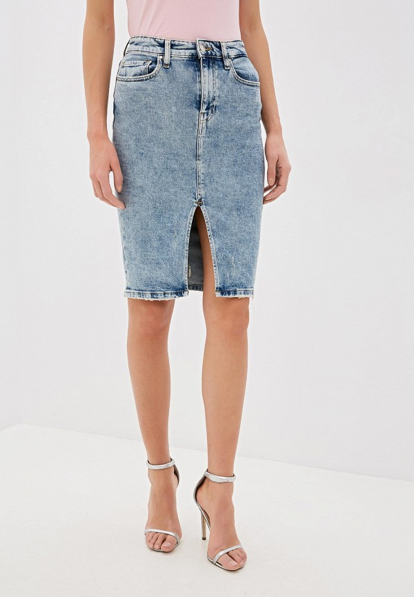женская джинсовые юбка guess, голубая