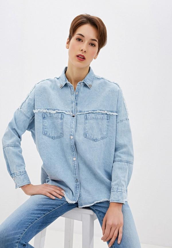 женская джинсовые рубашка guess, голубая