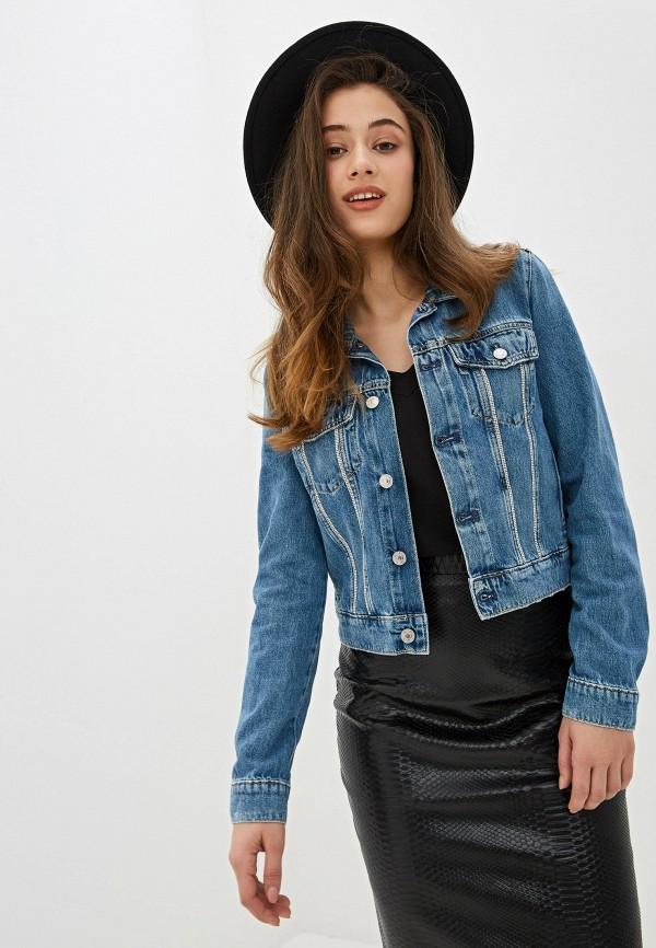 женская джинсовые куртка guess, синяя
