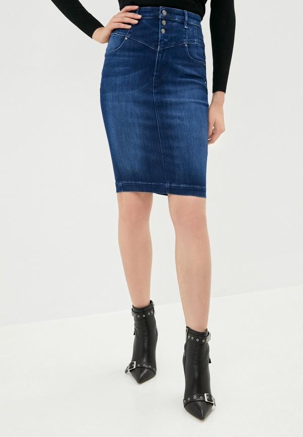 женская джинсовые юбка guess, синяя