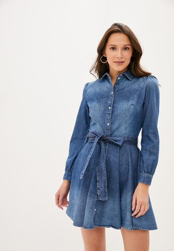 женское джинсовые платье guess, синее