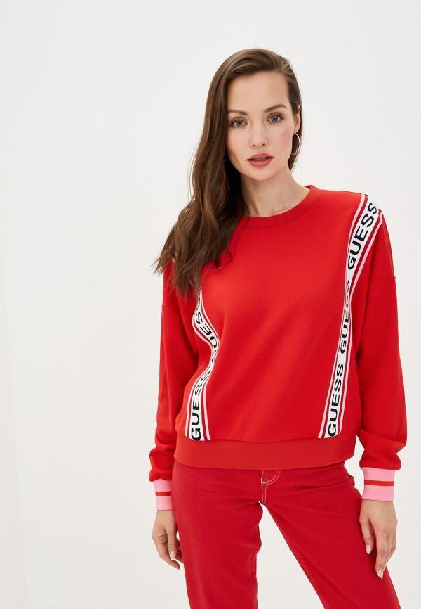 женский свитшот guess, красный