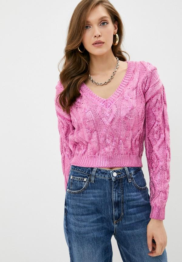 женский пуловер guess, розовый