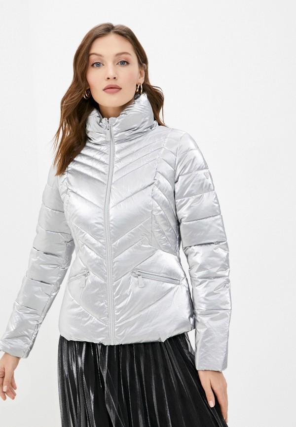 женская куртка guess, серебряная