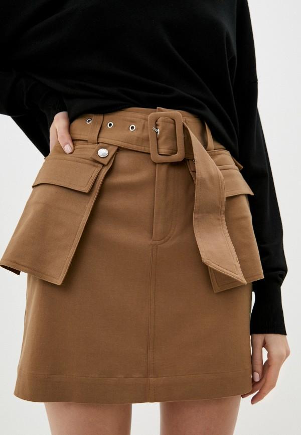 женская прямые юбка guess, коричневая