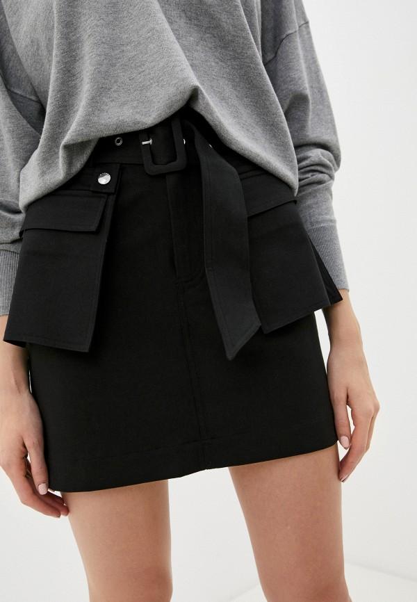 женская прямые юбка guess, черная