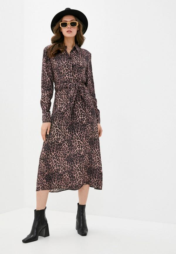 женское повседневные платье guess, коричневое