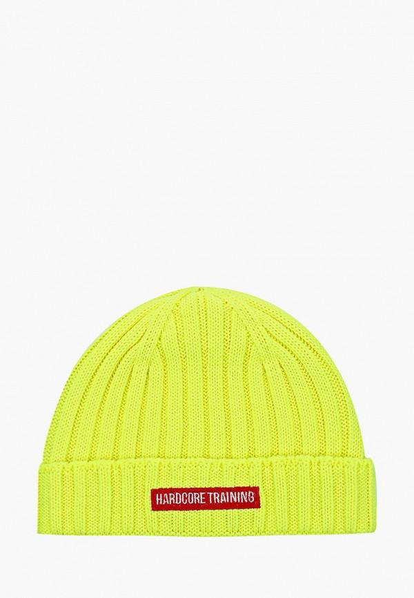 женская шапка hardcore training, желтая
