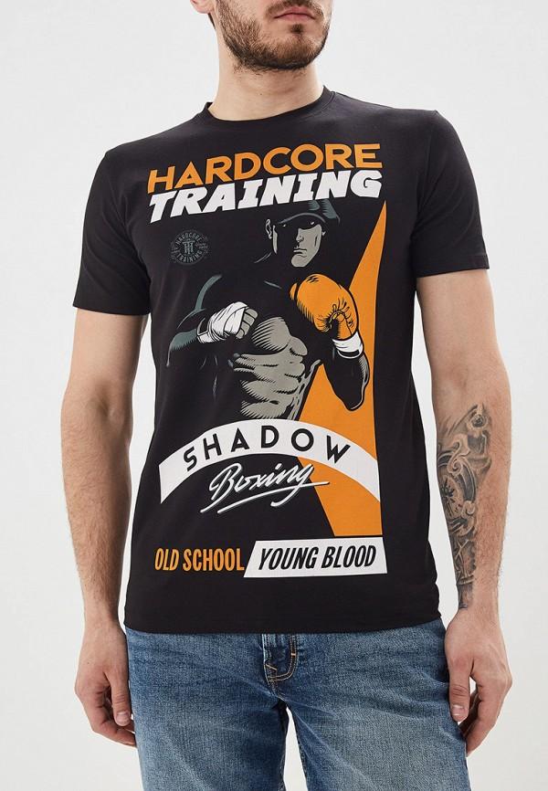 мужская спортивные футболка hardcore training, черная