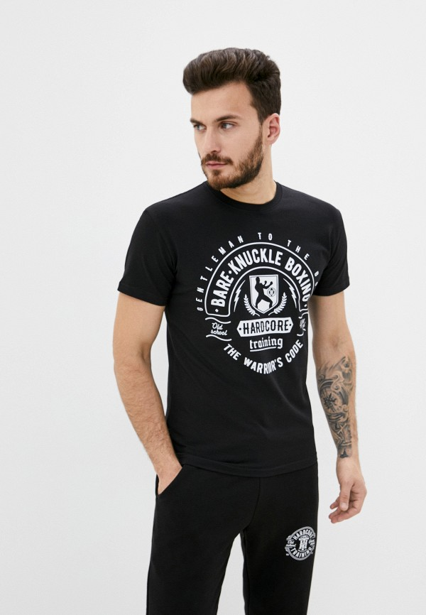 мужская футболка с коротким рукавом hardcore training, черная