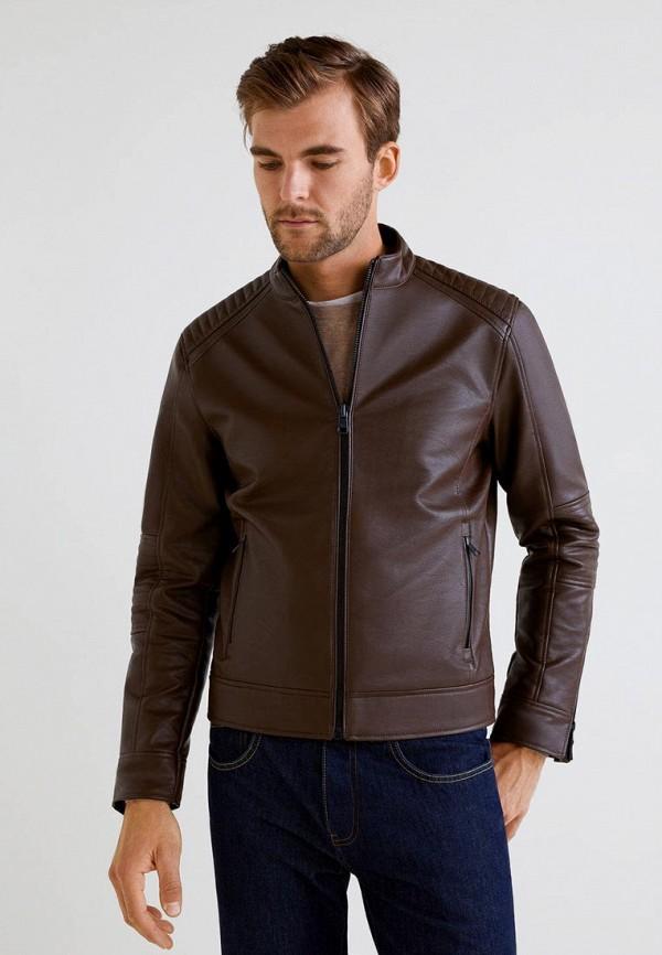 Куртка кожаная Mango Man, - JOSENO, HE002EMBOVI2, коричневый, Осень-зима 2018/2019  - купить со скидкой