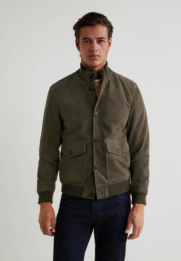 Купить Куртка кожаная Mango Man, - ORTI, HE002EMCESA8, хаки, Осень-зима 2018/2019
