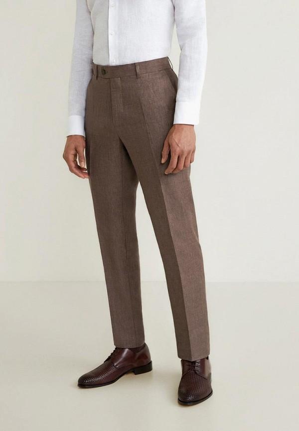 мужские классические брюки mango man, коричневые