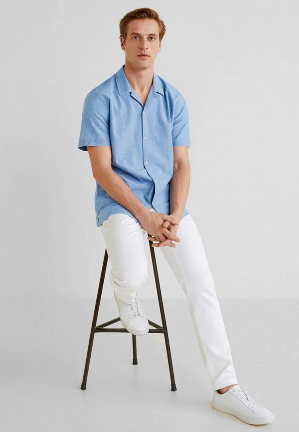 Фото 2 - мужскую рубашку Mango Man голубого цвета