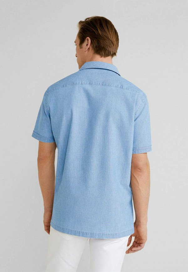 Фото 3 - мужскую рубашку Mango Man голубого цвета